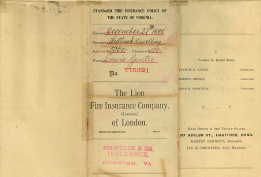 Lewis Ginter, Insurance Certificate, 27 December 1895, Accession 41379, Personal Papers Collection, Library of Virginia, Richmond, Virginia.