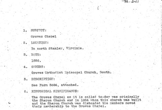 Survey Report, Groves [i.e., Graves] Chapel: 1936 December 28 / Research Made by C. C. Morris, Computer file: 1998, 3 image files, Virginia W.P.A. Historical Inventory Project, Library of Virginia, Richmond, Virginia.
