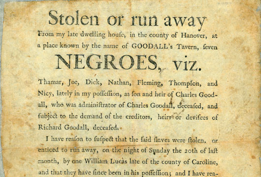 Broadside 1799 .G64 FF, Special Collections, Library of Virginia, Richmond, Virginia.