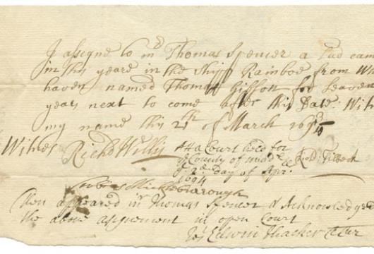 Thomas Gibson, Indenture, 21 March 1694, Accession 26169, Personal Papers Collection, Library of Virginia, Richmond, Virginia.