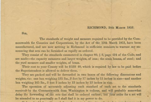 Broadside 1852 .H54 BOX, Special Collections, Library of Virginia, Richmond, Virginia.