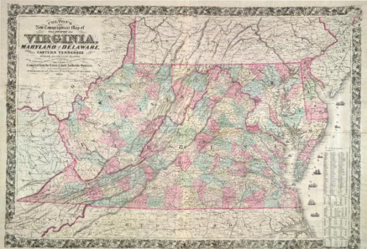 Colton's New Topographical Map of the States of Virginia, Maryland, and Delaware, Showing Also Eastern Tennessee... published by J. H. Colton, No. 172 Williams St., New York, 1864. Lab#: LVA00041.